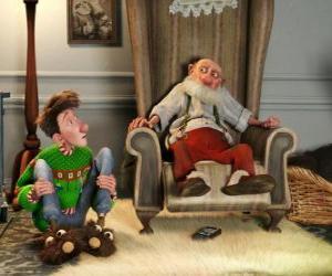 Puzle Arthur Christmas s jeho dědeček