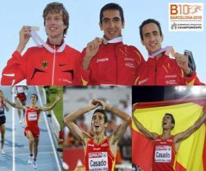 Puzle Arturo Casado 1500 m šampion, a Carsten Schlangen Manuel Olmedo (2. a 3.) z Mistrovství Evropy v atletice Barcelona 2010