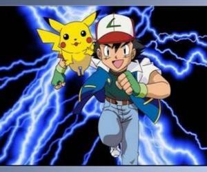 Puzle Ash, Pokémon trenér s jeho první Pokémon Pikachu