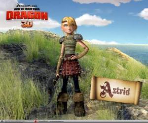 Puzle Astrid Hofferson, mladá žena viking překvapující, energický a konkurenční