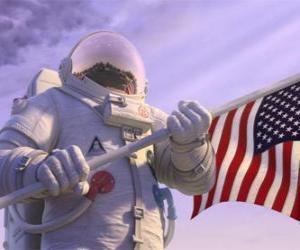 Puzle Astronaut Chuck Baker kroky na planetě 51 myšlení je neobydlený