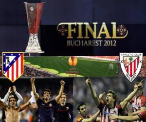 Puzle Atlético Madrid vs. Athletic Bilbao. Finále evropské ligy 2011-2012 na národním stadionu v Bukurešti, Rumunsko