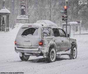 Puzle Auto se sněhem