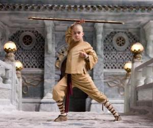 Puzle Avatar Aang je hlavní protagonista dobrodružství a jeho osud je zvládnout čtyři prvky: vzduch, vodu, zemi a oheň