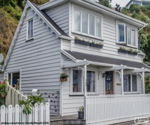 Puzle Bílý dřevěný dům