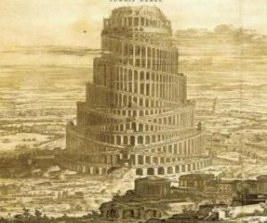 Puzle Babylonská věž, v níž lidé snaží dosáhnout nebe