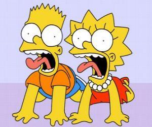 Puzle Bart a Lisa křičet