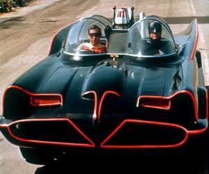 Puzle Batman a Robin v jeho Batmobile