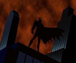 Puzle Batman pozoroval město ze střechy budovy v Gotham City