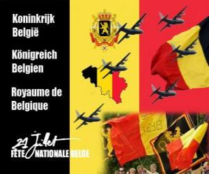 Puzle Belgického státního svátku se slaví 21. července. V roce 1831 první belgický král přísahal poslušnost k ústavě