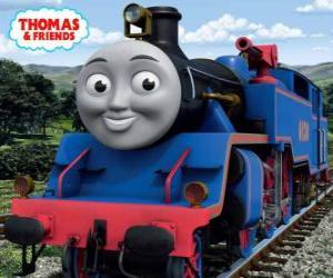 Puzle Belle, velký a statečný modrá lokomotiva má dvě vodní děla k hašení požárů