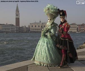 Puzle Benátky Karneval Pár
