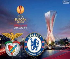 Puzle Benfica vs Chelsea. Finále Evropské ligy 2012-2013 v Amsterdam Arena, Nizozemsko