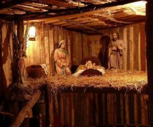 Puzle Betlém figurky v malé dřevěné budovy
