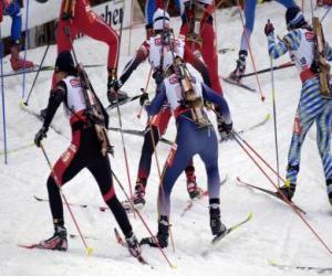 Puzle Biatlon v zimní sport kombinování cross-country lyžování sportovní střelby.