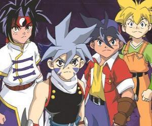 Puzle Bladebreakers týmu, Tyson Granger, Kai Hiwatari, Ray Kon a Max Tate