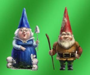 Puzle Blueberry paní a pánem Gnomeo matka budov z červených cihel otce Julie a představitelů obou soupeře zahrady