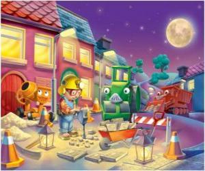 Puzle Bob a jeho přátelé v noci trabajano opravu ulice města