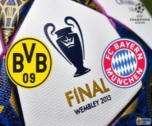 Puzle Borussia Dormunt vs Bayern Mnichov. Konečné UEFA Champions League 2012-2013. Wembley Stadium, Londýn, Velká Británie
