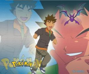 Puzle Brock, původně vůdce Pewter City Gym (cín), specializující se na rock-typu Pokémon.