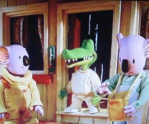 Puzle Buster a Frank se svým přítelem Archie krokodýl