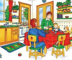 Puzle Caillou a jeho rodina jíst v kuchyni