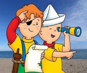 Puzle Caillou a Leo hraní piráty a hledání pokladu s mapou
