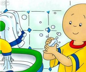 Puzle Caillou myje ruce