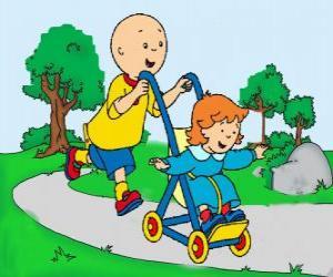 Puzle Caillou na procházku s malou sestrou v kočárku
