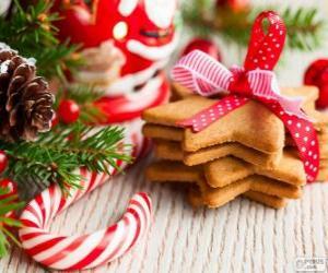Puzle Candy cane a cukroví na Vánoce
