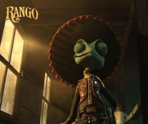 Puzle Chameleón Rango věřil být hrdinou a self-prohlásil šerif of Dirt