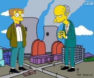 Puzle Charles Montgomery Burns a Waylon Smithers, vlastník Springfield jaderné elektrárny a jeho asistent