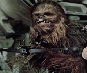 Puzle Chewbacca, obrovské a chlupaté wookiee, ukazuje se svou zbraní