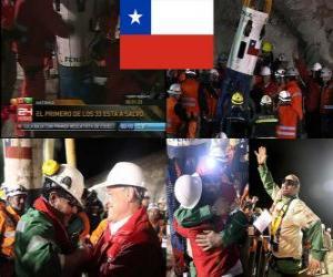 Puzle Chilské horníci záchranu happy end