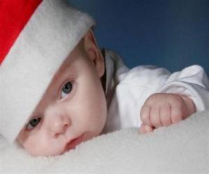 Puzle Chlapec s kloboukem Santa Claus