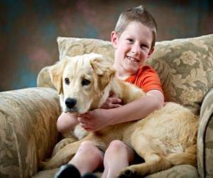 Puzle Chlapec se svým psem