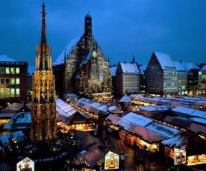 Puzle Christkindl trhu Norimberk Německo Bavorsko