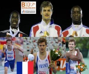 Puzle Christophe Lemaître 200 m šampion, Christian Malcolm a bojová Mbandjock (2. a 3.) z Mistrovství Evropy v atletice Barcelona 2010