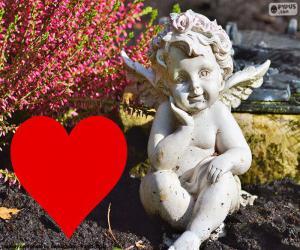 Puzle Cupid i červené srdce