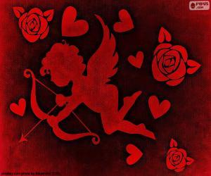 Puzle Cupid, srdce a růže