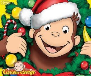Puzle Curious George na Vánoce