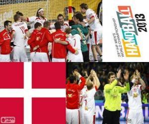 Puzle Dánsko v házené 2013 Mistrovství světa stříbrné medaile