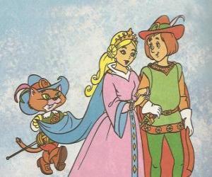 Puzle Díky vynalézavost Kocour v botách mlynáře nejmladší syn se stal markýz Carabas a ožení se s krásnou princeznou