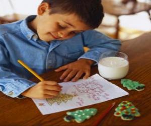 Puzle Dítě písemně dopisem Santa Claus