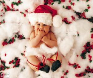 Puzle Dítě s kloboukem Santa Claus