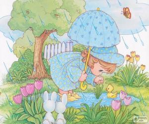 Puzle Dívka na deštivý den