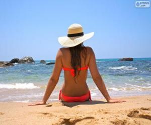Puzle Dívka na pláži