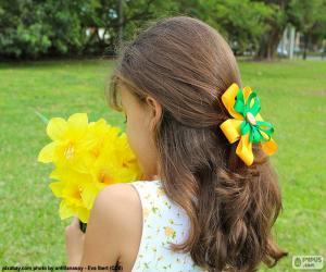 Puzle Dívka s květy