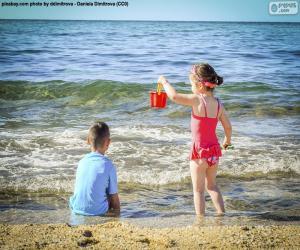 Puzle Děti se těší na pláž