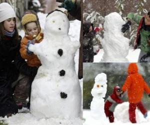 Puzle Děti si hrají s sněhulák